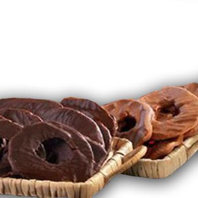 Mele essiccate a rondelle ricoperte di cioccolato, 100% BIO